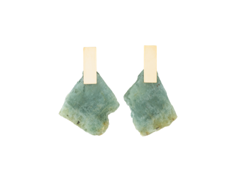 Aquamarine Slice Plane Earrings